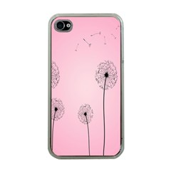 Flower Back Pink Sun Fly Apple iPhone 4 Case (Clear)