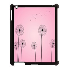 Flower Back Pink Sun Fly Apple iPad 3/4 Case (Black)