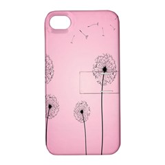 Flower Back Pink Sun Fly Apple iPhone 4/4S Hardshell Case with Stand