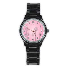 Flower Back Pink Sun Fly Stainless Steel Round Watch