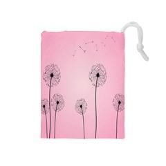 Flower Back Pink Sun Fly Drawstring Pouches (Medium)