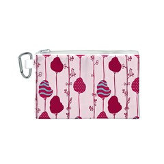 Flower Floral Mpink Frame Canvas Cosmetic Bag (S)