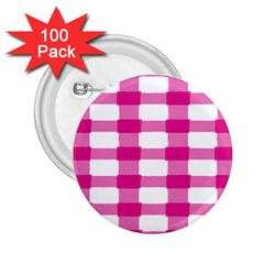 Hot Pink Brush Stroke Plaid Tech White 2.25  Buttons (100 pack)
