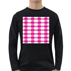 Hot Pink Brush Stroke Plaid Tech White Long Sleeve Dark T-Shirts