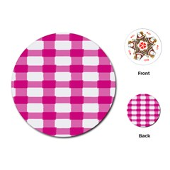 Hot Pink Brush Stroke Plaid Tech White Playing Cards (Round)