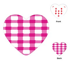 Hot Pink Brush Stroke Plaid Tech White Playing Cards (Heart)