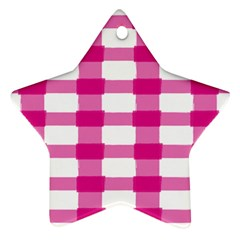 Hot Pink Brush Stroke Plaid Tech White Star Ornament (Two Sides)