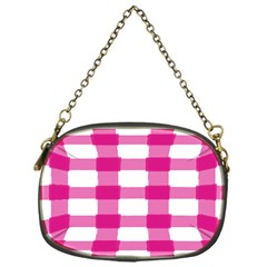 Hot Pink Brush Stroke Plaid Tech White Chain Purses (One Side)