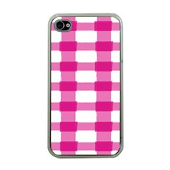 Hot Pink Brush Stroke Plaid Tech White Apple iPhone 4 Case (Clear)