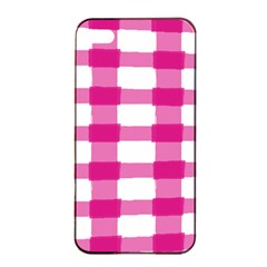 Hot Pink Brush Stroke Plaid Tech White Apple iPhone 4/4s Seamless Case (Black)