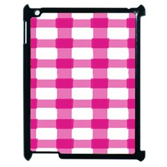 Hot Pink Brush Stroke Plaid Tech White Apple iPad 2 Case (Black)