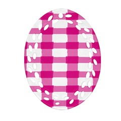 Hot Pink Brush Stroke Plaid Tech White Oval Filigree Ornament (Two Sides)