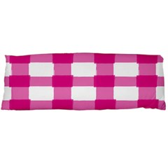 Hot Pink Brush Stroke Plaid Tech White Body Pillow Case Dakimakura (Two Sides)