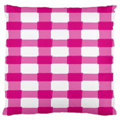 Hot Pink Brush Stroke Plaid Tech White Large Cushion Case (Two Sides)
