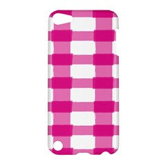 Hot Pink Brush Stroke Plaid Tech White Apple iPod Touch 5 Hardshell Case