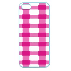 Hot Pink Brush Stroke Plaid Tech White Apple Seamless iPhone 5 Case (Color)