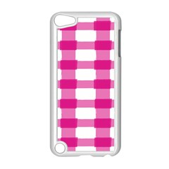 Hot Pink Brush Stroke Plaid Tech White Apple iPod Touch 5 Case (White)