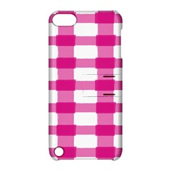 Hot Pink Brush Stroke Plaid Tech White Apple iPod Touch 5 Hardshell Case with Stand
