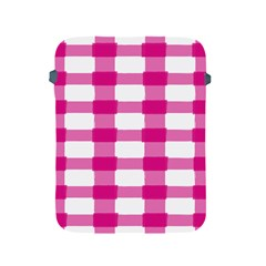 Hot Pink Brush Stroke Plaid Tech White Apple iPad 2/3/4 Protective Soft Cases
