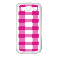 Hot Pink Brush Stroke Plaid Tech White Samsung Galaxy S3 Back Case (White)
