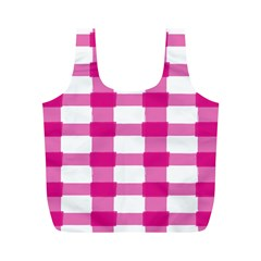Hot Pink Brush Stroke Plaid Tech White Full Print Recycle Bags (M)