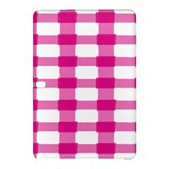 Hot Pink Brush Stroke Plaid Tech White Samsung Galaxy Tab Pro 10.1 Hardshell Case
