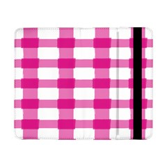 Hot Pink Brush Stroke Plaid Tech White Samsung Galaxy Tab Pro 8 4  Flip Case