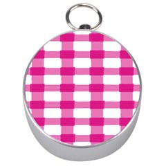 Hot Pink Brush Stroke Plaid Tech White Silver Compasses