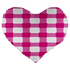 Hot Pink Brush Stroke Plaid Tech White Large 19  Premium Flano Heart Shape Cushions