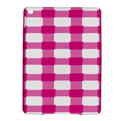 Hot Pink Brush Stroke Plaid Tech White iPad Air 2 Hardshell Cases