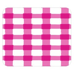 Hot Pink Brush Stroke Plaid Tech White Double Sided Flano Blanket (Small)