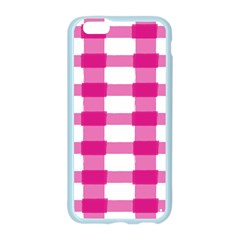 Hot Pink Brush Stroke Plaid Tech White Apple Seamless iPhone 6/6S Case (Color)