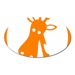 Giraffe Animals Face Orange Oval Magnet
