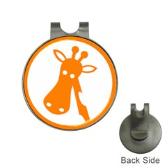 Giraffe Animals Face Orange Hat Clips with Golf Markers