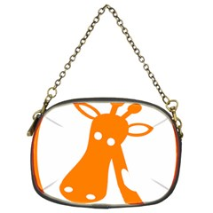 Giraffe Animals Face Orange Chain Purses (Two Sides)