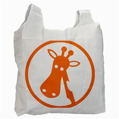 Giraffe Animals Face Orange Recycle Bag (Two Side)