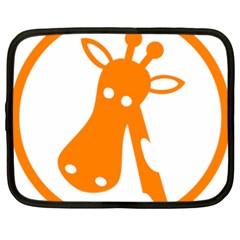 Giraffe Animals Face Orange Netbook Case (xl)