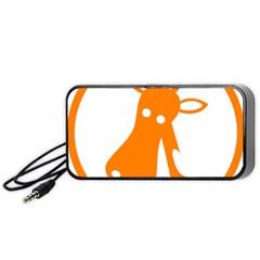Giraffe Animals Face Orange Portable Speaker (Black)