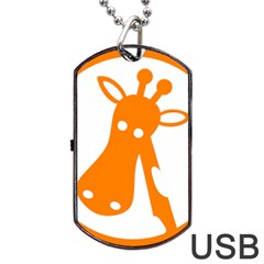 Giraffe Animals Face Orange Dog Tag USB Flash (Two Sides)