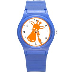 Giraffe Animals Face Orange Round Plastic Sport Watch (S)