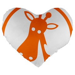 Giraffe Animals Face Orange Large 19  Premium Heart Shape Cushions