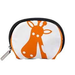 Giraffe Animals Face Orange Accessory Pouches (Small)