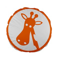 Giraffe Animals Face Orange Standard 15  Premium Flano Round Cushions