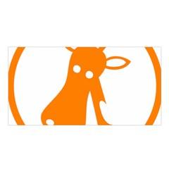 Giraffe Animals Face Orange Satin Shawl