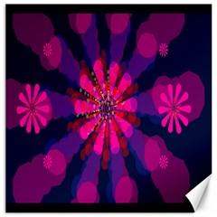 Flower Red Pink Purple Star Sunflower Canvas 16  X 16