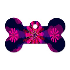Flower Red Pink Purple Star Sunflower Dog Tag Bone (one Side)