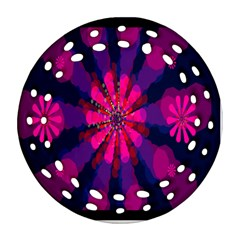 Flower Red Pink Purple Star Sunflower Round Filigree Ornament (Two Sides)