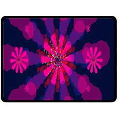Flower Red Pink Purple Star Sunflower Double Sided Fleece Blanket (Large)