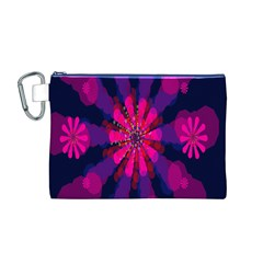 Flower Red Pink Purple Star Sunflower Canvas Cosmetic Bag (M)