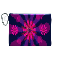 Flower Red Pink Purple Star Sunflower Canvas Cosmetic Bag (XL)
